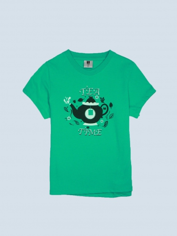 GIRLS TEA TIME GRAPHIC TEE IN DARK MINT