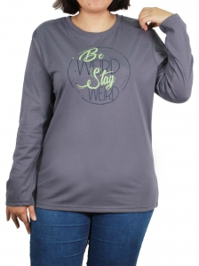 ad5c8c20d WOMEN PLUS SIZE BE WEIRD GRAPHIC TEE IN MID GREY
