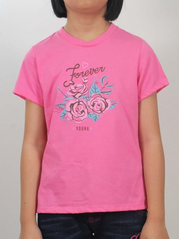 GIRLS FOREVER YOUNG GRAPHIC TEE IN PINK