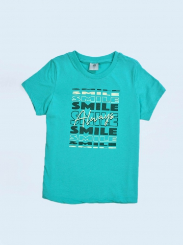 GIRLS SMILE ALWAYS GRAPHIC TEE IN DARK MINT