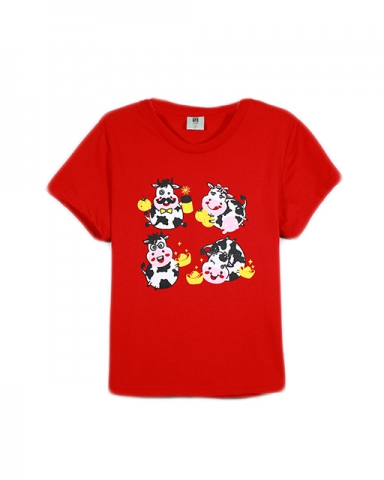 GIRLS COW FAMILY GRAPHIC TEE IN RED