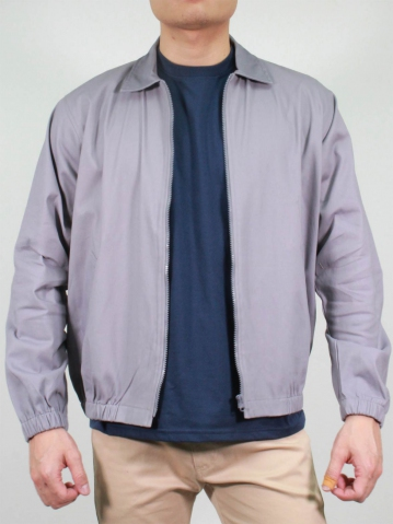 KENT COLLARED LONG SLEEVE JACKET IN LIGHT GREY