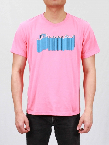 MEN PEACEFUL GRAPHIC TEE IN MID PINK