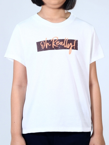 GIRLS OH REALLY GRAPHIC TEE IN WHITE