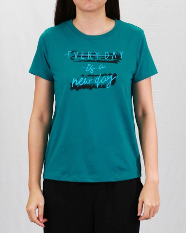 WOMEN EVERY DAY IS A NEW DAY GRAPHIC TEE IN DARK TEAL