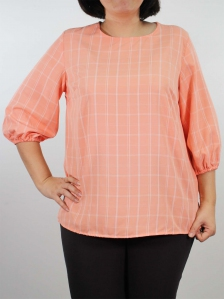 HELEN ROUND NECK 3/4 SLEEVE BLOUSE IN PEACH