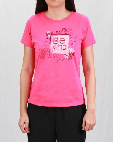 WOMEN BE KIND GRAPHIC TEE IN MID PINK
