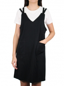 FIONA COTTON PINAFORE DRESS IN BLACK