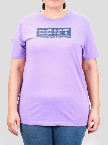 WOMEN PLUS SIZE DONT WAIT GRAPHIC TEE IN LILAC