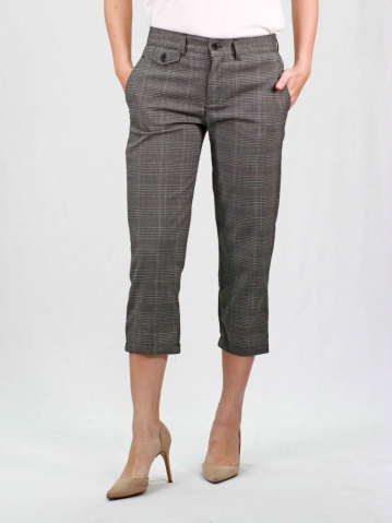 RAINE CHECKED CROP PANTS IN DARK GREY