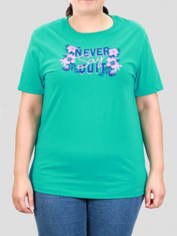 WOMEN PLUS SIZE NEVER QUIT GRAPHIC TEE IN LIGHT TEAL