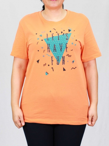 WOMEN PLUS SIZE HAVE FUN GRAPHIC TEE IN PEACH