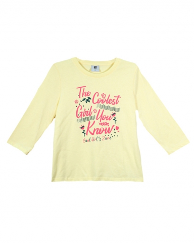 GIRLS THE COOLEST GIRL GRAPHIC TEE IN LIGHT YELLOW