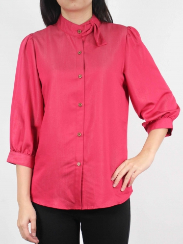 MOON MOCK TURTLE NECK 3/4 SLEEVE BLOUSE IN ROSE