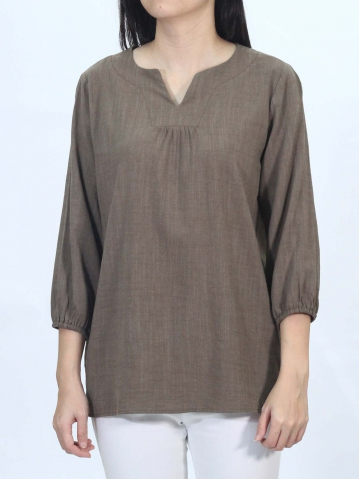 OLLIE V NECK 3/4 SLEEVE BLOUSE IN BROWN