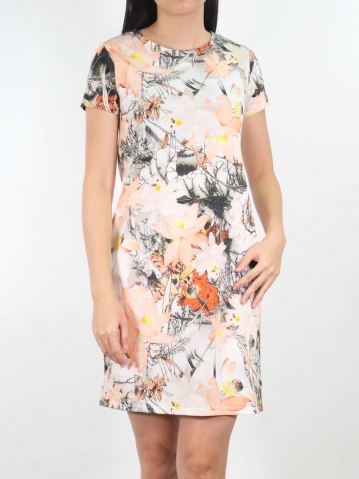 JANE PRINTED SHORT SLEEVE DRESS IN LIGHT ORANGE
