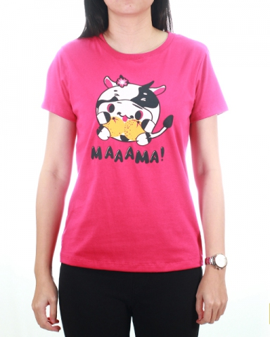WOMEN HAPPY COW GRAPHIC TEE IN FUCHSIA