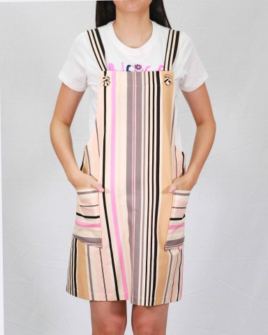 SARAH PRINTED STRIPE PINAFORE DRESS IN PINK