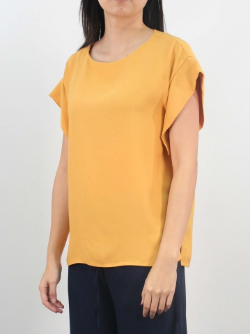 LYNN ROUND NECK FRENCH SLEEVE BLOUSE IN MUSTARD