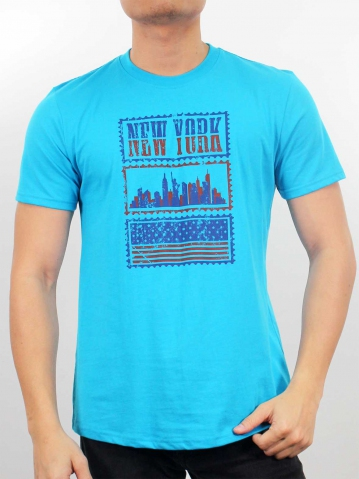 MEN NEW YORK GRAPHIC TEE IN MID BLUE