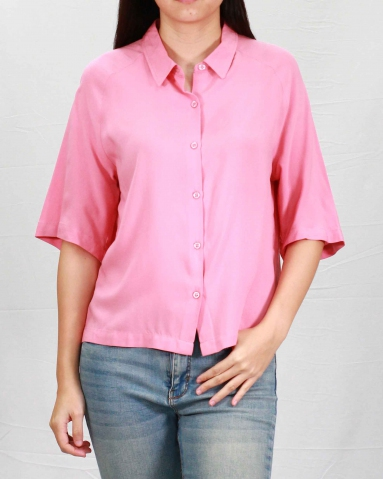 SANDRA COLLARED SHORT SLEEVE BLOUSE IN DARK PEACH