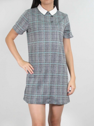 JANE COLLARED SHORT SLEEVE DRESS IN MID TEAL