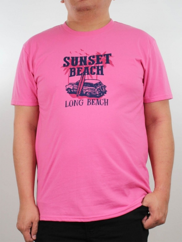 MEN PLUS SIZE SUNSET BEACH GRAPHIC TEE IN LIGHT FUCHSIA