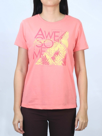 WOMEN AWESOME GRAPHIC TEE IN MID PINK