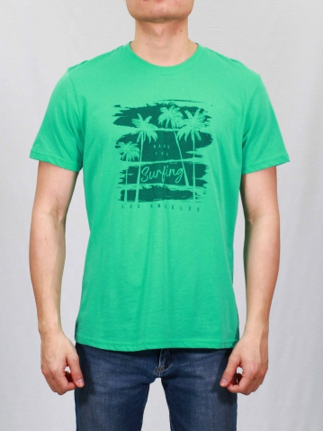 MEN MADE FOR SURFING GRAPHIC TEE IN DARK MINT