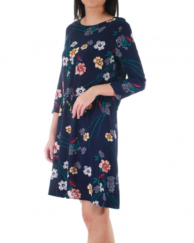 WALLIS ROUND NECK 3/4 SLEEVE DRESS IN PETROL