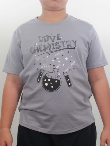BOYS LOVE CHEMISTRY GRAPHIC TEE IN LIGHT GREY