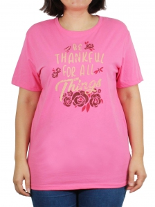 6bd080906 WOMEN PLUS SIZE BE THANKFUL GRAPHIC TEE IN PINK