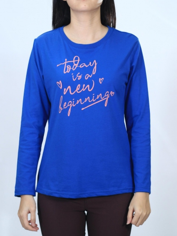 WOMEN NEW BEGINNING GRAPHIC TEE IN ROYAL BLUE