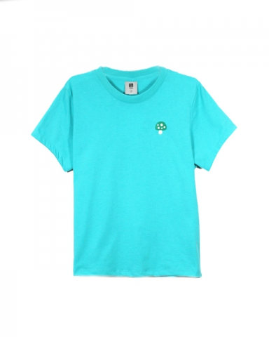 GIRLS MUSHROOM EMBROIDERY LOGO TEE IN JADE