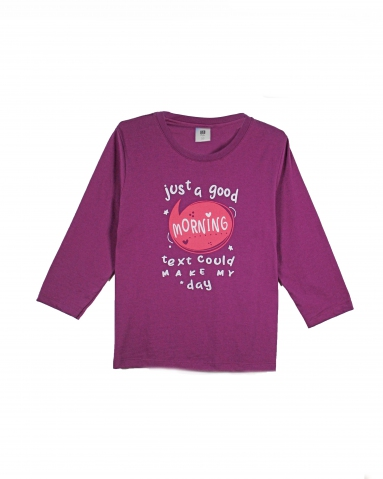 GIRLS JUST A GOOD MORNING GRAPHIC TEE IN GRAPE
