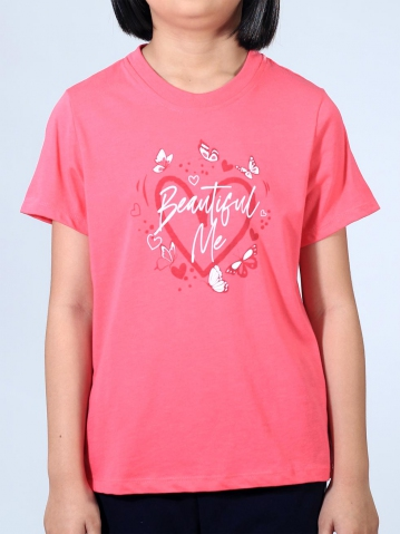 GIRLS BEAUTIFUL ME GRAPHIC TEE IN CORAL