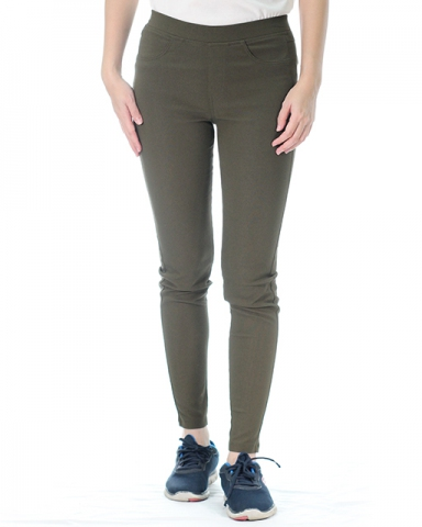 VICTORIA WOVEN LONG JEGGING IN DARK OLIVE