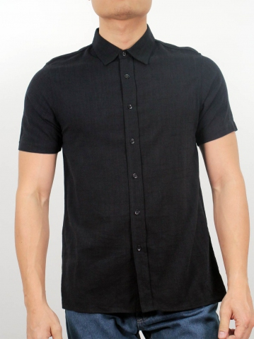 LUCAS COLLARED SHORT SLEEVE SHIRT IN BLACK