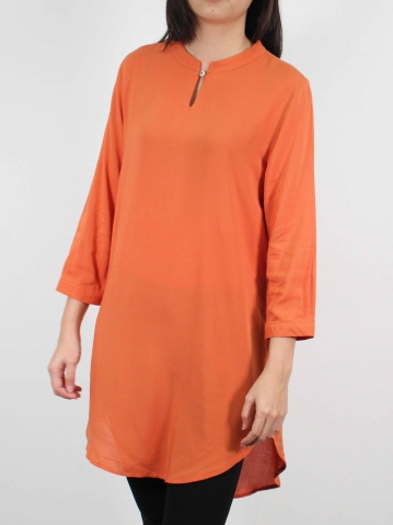 MOON SOLID COLOUR 3/4 SLEEVE TUNIC IN MID ORANGE