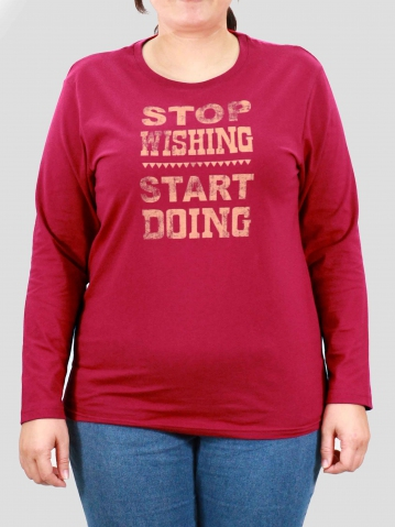 WOMEN PLUS SIZE START DOING GRAPHIC TEE IN MAROON