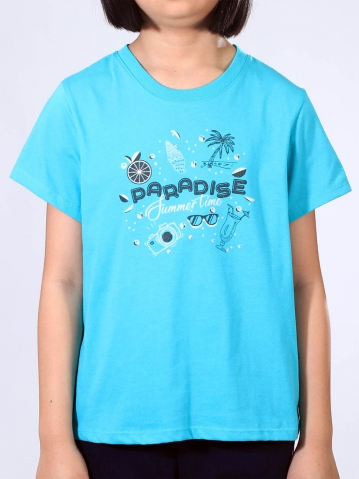 GIRLS PARADISE SUMMER TIME GRAPHIC TEE IN MID TEAL
