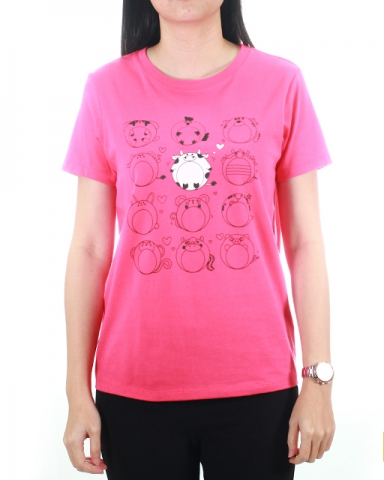 WOMEN 12 ZODIAC GRAPHIC TEE IN MID PINK
