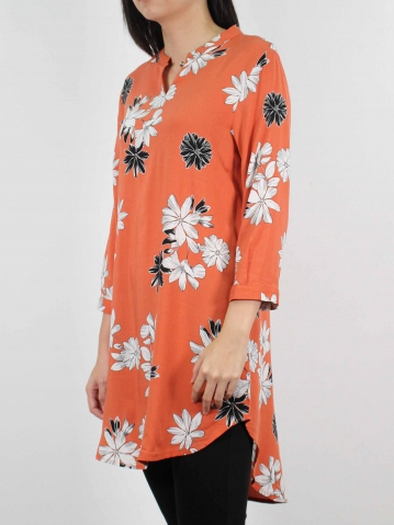 MOON PRINTED 3/4 SLEEVE TUNIC IN MID ORANGE