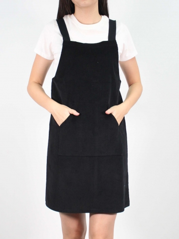 JANE CORDUROY PINAFORE DRESS IN BLACK