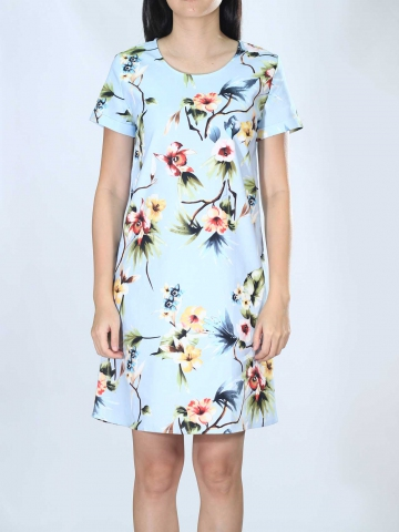 NEOL PRINTED SHORT SLEEVE DRESS IN LIGHT BLUE