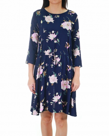 WALLIS ROUND NECK 3/4 SLEEVE DRESS IN DARK NAVY