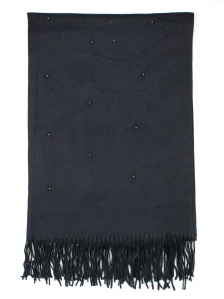 FIONA BEADS TRIM SCARF IN BLACK