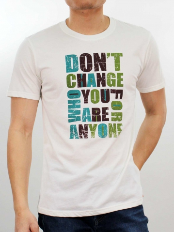 MEN DONT CHANGE GRAPHIC TEE IN OFF WHITE