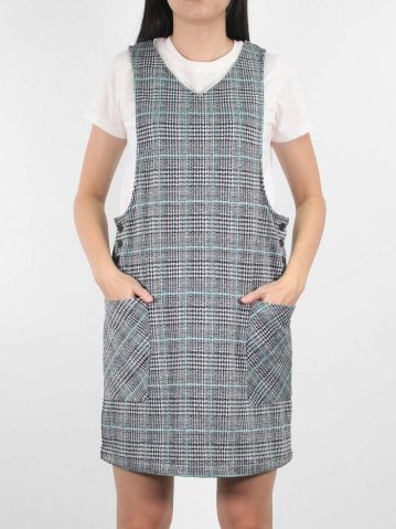JANE KNITTED PINAFORE DRESS IN MID TEAL