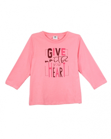 GIRLS GIVE WITH YOUR HEART GRAPHIC TEE IN MID PINK